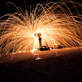 Steelwool spinning - 11/11-2014 by Aleksander Hansen - Abstract Light Painting ( spinning, steel wool, dark, steelwool, night, sparks, norway )