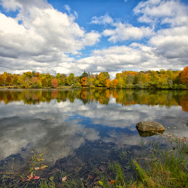 Fall Foliage on Heistein Pond by Rachel Ellentuck - Landscapes Waterscapes ( cloud formations, clouds, fall leaves, fall leaves on a lake, fall foliage, lake, fall color, fall, color, colorful, nature )
