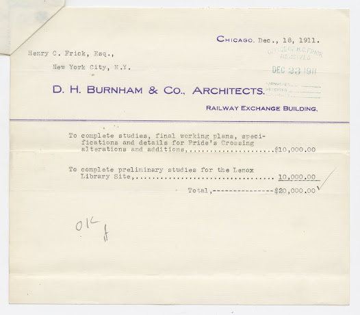 At the end of 1911, Burnham rendered a bill to Frick for his services.  Thomas Hastings would soon be selected as the new architect, but in early 1912, when Frick and his family sailed from New York bound for Egypt, designs for the house were still very much up in the air.