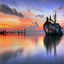 Aground Ship by Saya Serin - Landscapes Waterscapes (  )