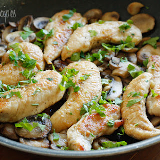 Chicken and Mushrooms in a Garlic White Wine Sauce