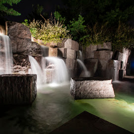 FDR Memorial by Craig Hicks - City,  Street & Park  Historic Districts ( dc, washington, waterfalls, memorial, night, long exposure, fdr,  )