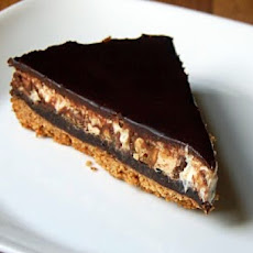 Snickers Pie with Fudge Sauce