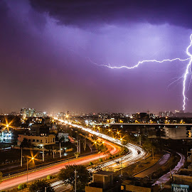 Lightning Strike by Himanshu Sharma - Landscapes Weather ( thunder, amazing, lightning, gurgaon, awesome, beautiful, weather, india, rain, city )