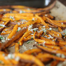 Sweet Potato Fries with Garlic and Parmesan