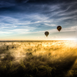 Balloon Ride by John Hancock - Landscapes Sunsets & Sunrises ( hot air balloon,  )