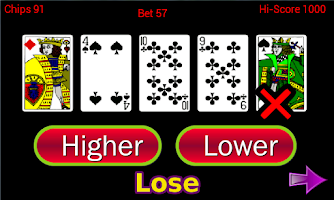 Screenshot of Higher or Lower card game
