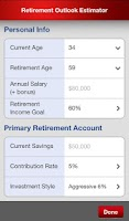 Screenshot of Retirement Outlook Estimator