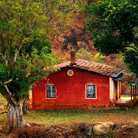 The green trees, along with the haunted house painted in spiritual color with swastik.. make the place so silent and calm with the beautiful nature around it. F.5.5, 1.750s at 400 ISO, by Murali Murliz - Buildings & Architecture Homes