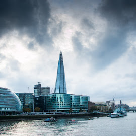 The Thames by Rani Meenagh - City,  Street & Park  Skylines ( clouds, water, skyline, england, sky, skyscraper, london, thames, waterscape, dark, moody, river,  )
