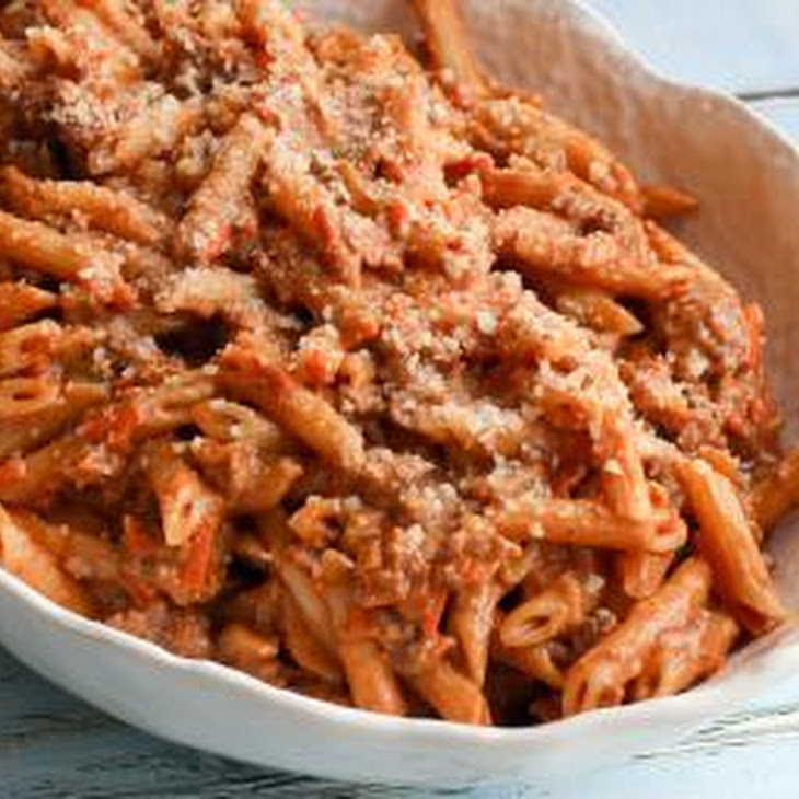 Penne Pasta with Creamy Meat Sauce Recipe | Yummly
