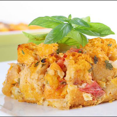 Tomato Davinci – Heirloom tomato savory bread pudding