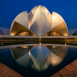 Magical Blue by Sabbyy Sg - Buildings & Architecture Places of Worship ( moment, intriguing, hour, architecture, .blue, baha'i, sg, sourabh, delhi, temple, lotus, asia, only, india, vertical lines, pwc )