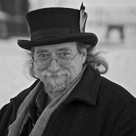 Historian at Slater Mill by Matt Connors - People Portraits of Men ( history, black and white, male, historian, feather, man, portrait )