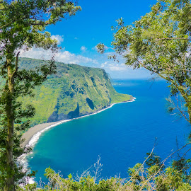 Waipio Valley Lookout 01 by Karen Martin - Landscapes Beaches ( mountain, cloud forest, green, waves, forest, ocean, beach, volcano, lava, blue, rain forest, surf, hawaii )