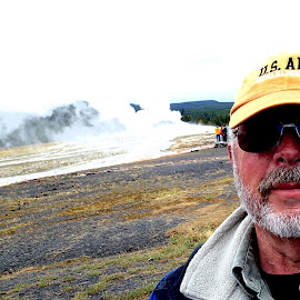 Old Man and Old Faithful by Donald Henninger - Novices Only Portraits & People ( water, geyser, nature, yellowstone national park, self portrait, portrait,  )