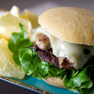 Sauteed Mushroom & Swiss Burger with Caramelized Onions