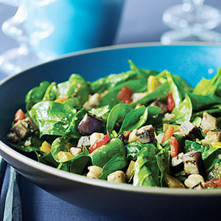 Warm Chickpea, Red Pepper, and Spinach Salad with Harissa Recipe ...