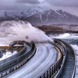Storm!!! by Jan Helge - Buildings & Architecture Bridges & Suspended Structures ( wave, big, atlantic road, storm, norway,  )