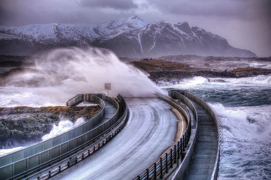 Storm!!! by Jan Helge - Buildings & Architecture Bridges & Suspended Structures ( wave, big, atlantic road, storm, norway,  )