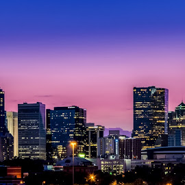 Charlotte at Dusk by RomanDA Photography - City,  Street & Park  Skylines ( skyline, carolina, nc, charlotte, north, dusk, city )
