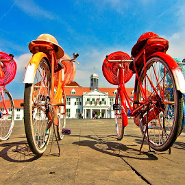 The Old Bicycle by Eka Fatari - Transportation Bicycles ( parking, jakarta, kota tua, old bicycle, town, heritage, bicycle )