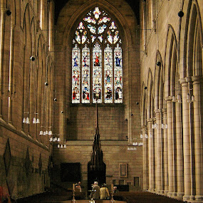 Interior Hexham Cathedral by Tina Stevens - Buildings & Architecture Places of Worship ( interior, europe, northumberland, church, northumbria, architecture, worship, united kingdom, apse, england, hexham, cathedral, medieval, stained glass, religious, , building )