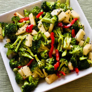 Spicy Broccoli-Jicama Salad with Red Bell Pepper and Black Sesame Seeds