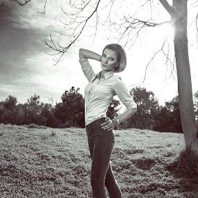 Claudia by Dimitris Stenidis - Black & White Portraits & People ( person, goudi, b&w, 2014, woman, bw, athens, ds photograpy, claudia, dimitris stenidis, portrait,  )