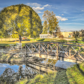 Askim, Norway by IP Maesstro - City,  Street & Park  City Parks ( golf park, hdr, bench, summer, lake, bridge, maesstro, askim, norway, ip, city )