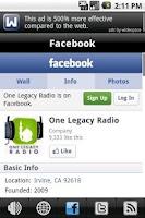 Screenshot of One Legacy Radio