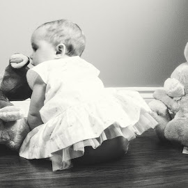 Sharing Secrets by Mary Withers Lawton - Babies & Children Babies ( babies, black and white, toys )