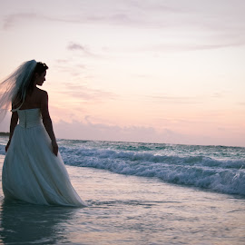 Grace at dawn by Josie White - Wedding Other ( water, grace, dress, mexico, ocean, veil, sunrise, bride, trash the dress )