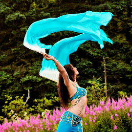 Belly Dancer on the Beach by Alicia Robichaud - People Musicians & Entertainers ( belly dance, blue, silk fans, beach, dance, dancer,  )