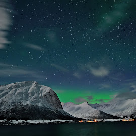Aurora over godfjord by Marius Birkeland - Landscapes Starscapes ( mountains, sky, northern lights, aurora borealis, aurora )