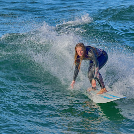 Female Surfer by Jose Matutina - Sports & Fitness Surfing ( surfer, orange county, female, california, sea, sport, ocean, huntington beach,  )