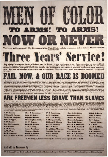 "African American leaders like Frederick Douglass were instrumental in urging African American men to enlist in Union forces.   Black soldiers joined the segregated regiments of the United States Colored Troops, which eventually made up 10% of Union forces.  Learn more about this broadside <a href=""http://www.gilderlehrman.org/history-by-era/african-americans-and-emancipation/resources/%E2%80%9Cmen-color-arms-arms%E2%80%9D-1863"">here</a>."