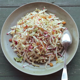 Shredded Napa Cabbage Salad with Radishes, Golden Raisins, and Dijon Dressing
