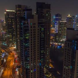 Dubai Night by Sean Heatley - City,  Street & Park  Night ( homeh, sean heatley photography, skyline, dubai, city lights, travel, night-time, city at night )