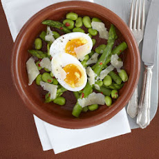 Duck Eggs With Warm Bean, Asparagus & Chilli Salad