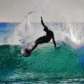 an act of show by Magdalena Wysoczanska - Sports & Fitness Surfing ( surfer, wave, sport, trick, surf )