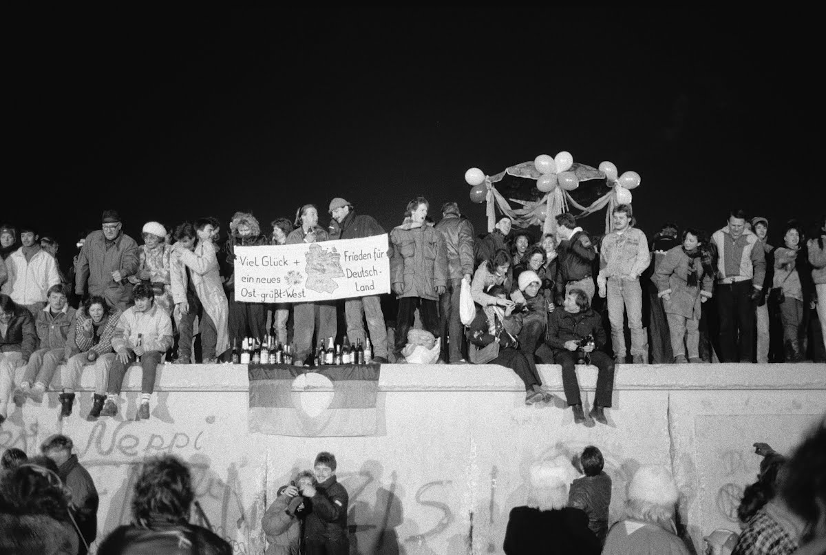 "Party on the Berlin Wall: The answer to Ronald Reagan's battle cry ""Tear down this wall!"""