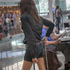 airport by Vibeke Friis - City,  Street & Park  Markets & Shops ( airport, girl long legs,  )