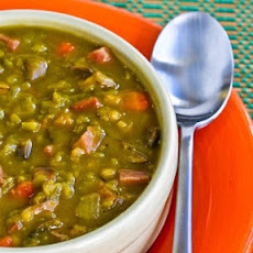 Split Pea Soup with Ham, Mushrooms, Carrots, and Wheatberries