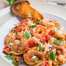 Shrimp Linguine in a Tomato and Feta Sauce (aka Shrimp Saganaki Linguine)