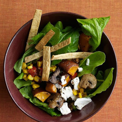 Arugula Salad with Roasted Sweet Potatoes and Mushrooms