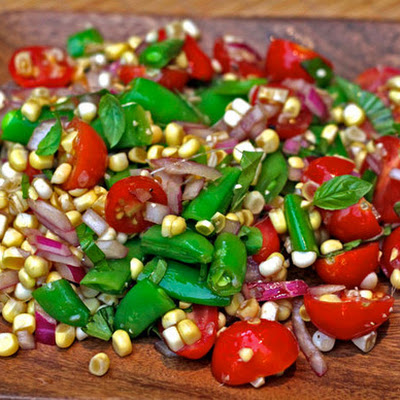 Dinner Tonight: Amagansett Raw Corn, Tomato, and Snap Pea Salad