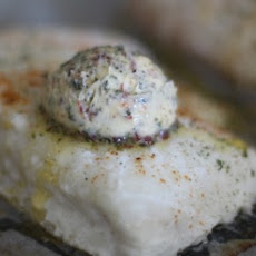 Simple Baked Halibut with Bacon Herb Butter