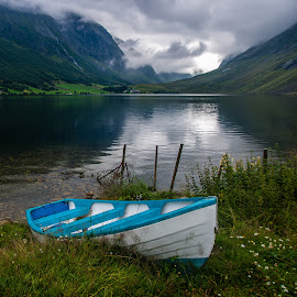 Geiranger Fjord by Xavier Barceló Pinya - Transportation Boats ( clouds, mountains, boat, norway, fjord )