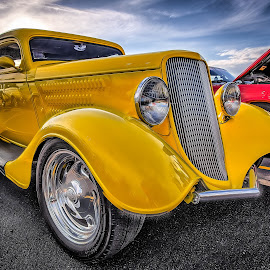 Yellow Coupe by Ron Meyers - Transportation Automobiles